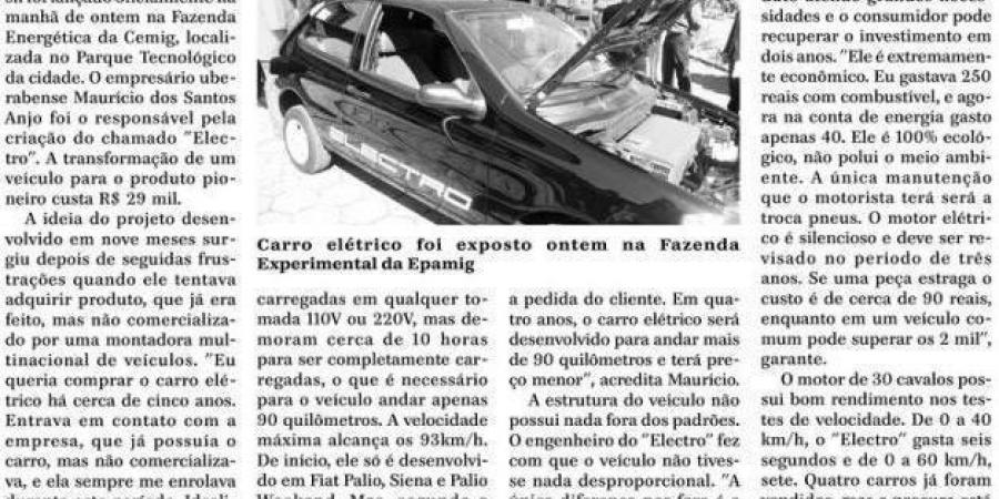 na midia jornal de uberaba electro primeiro carro eletrico comercializavel uberaba mg